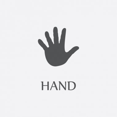 Hand print black simple icon for web design.