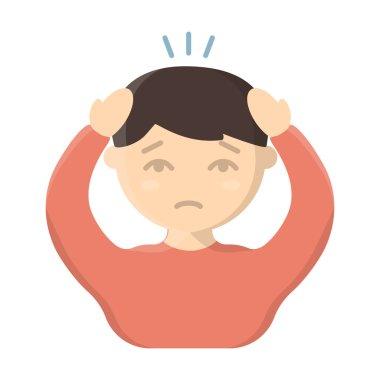 Headache icon cartoon. Single sick icon from the big ill, disease set.