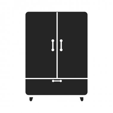 Cupboard icon black simple style. One icon of a large interiour collection.