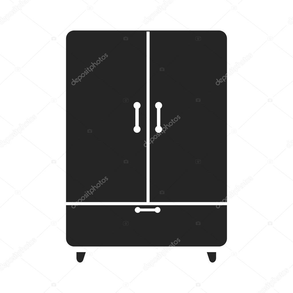 Kast pictogram zwarte eenvoudige stijl. Een pictogram van een grote ...