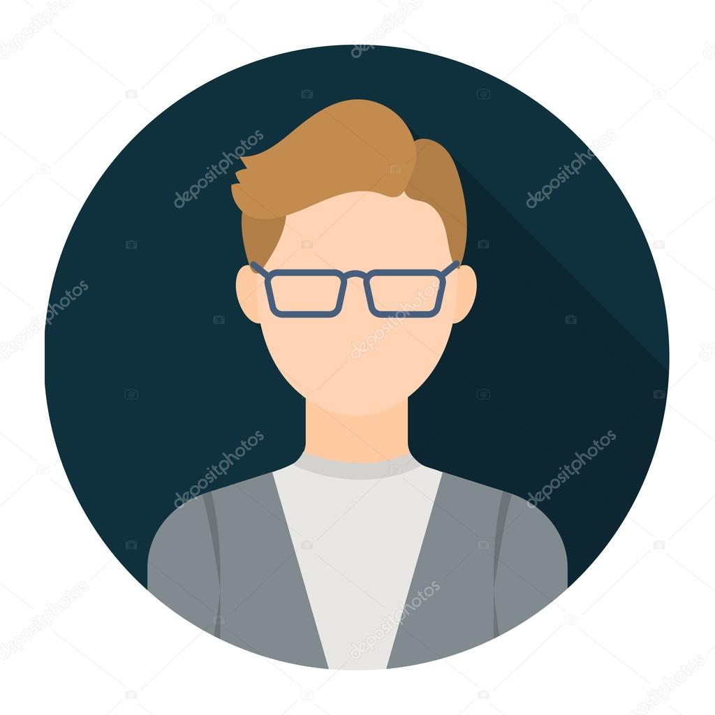 Man With Glasses Icon Flat. Single Avatar,people Icon From