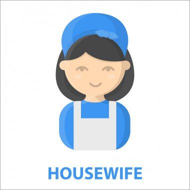 Housewife cartoon icon. Illustration for web and mobile design.