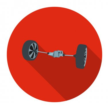 Front car suspension icon flat. Single silhouette auto parts icon from the big car flat - stock vector