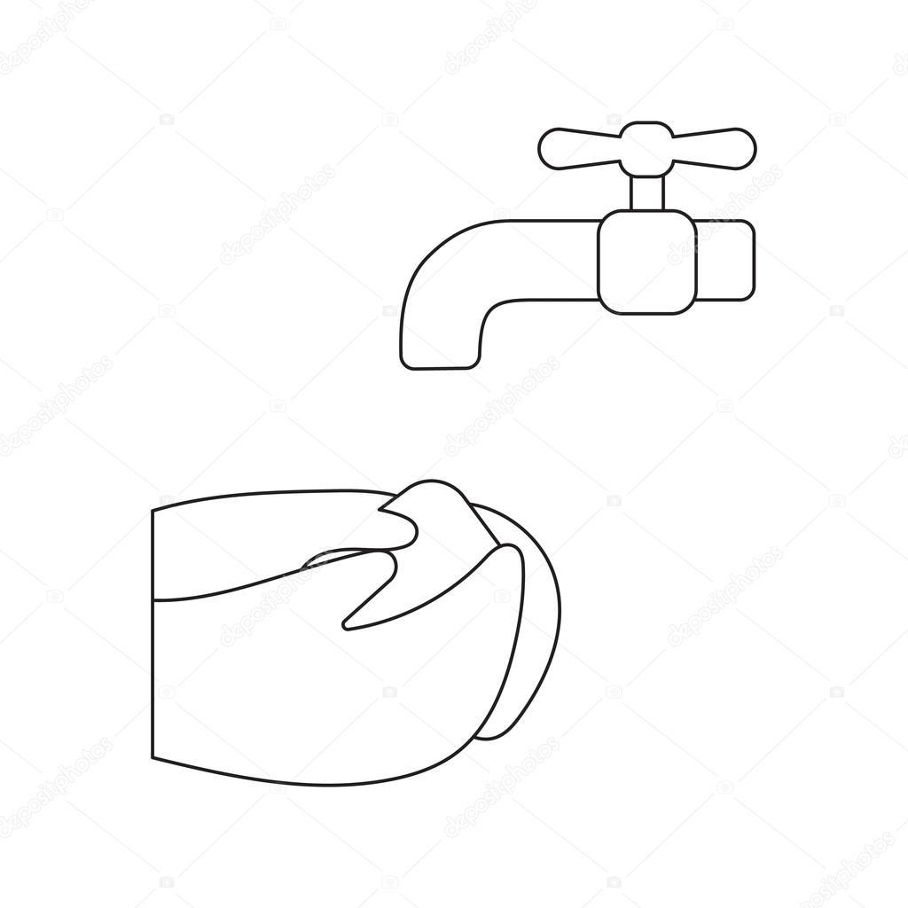 Dibujos animados icono de la lavado de manos. Conjunto único icono ...