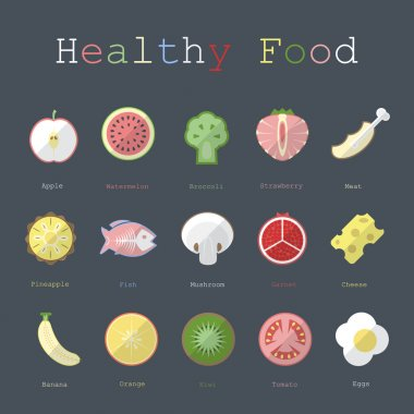 illustration of healthy food in flat design with text