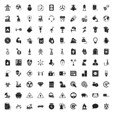 industry 100 icons set for web