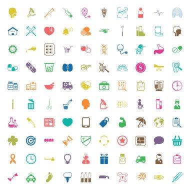 medicine 100 icons set for web