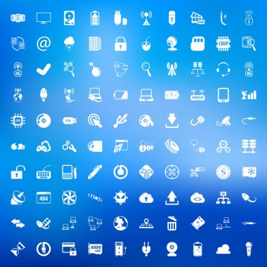 computer 100 icons set for web