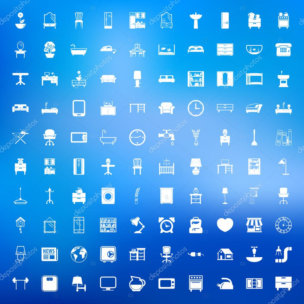 Furniture 100 icons set for web