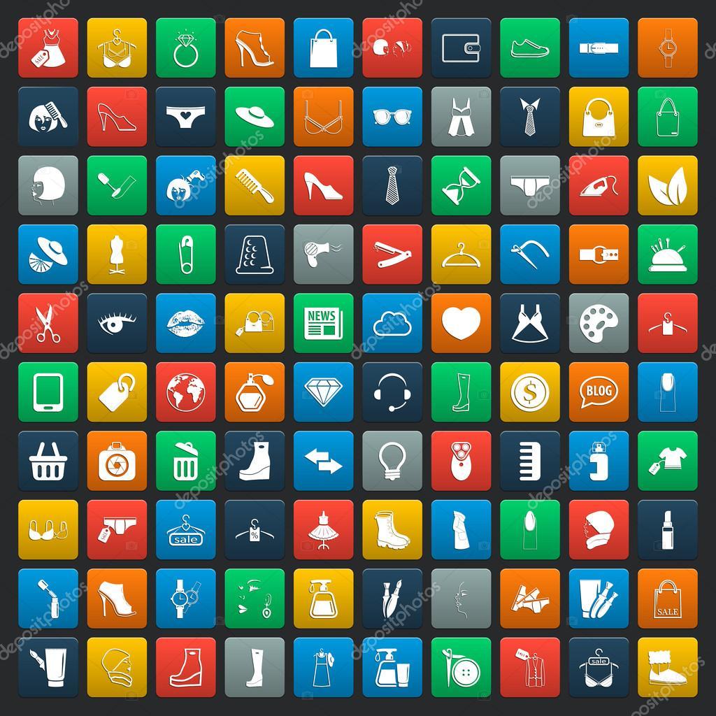Fashion 100 icons universal set for web and mobile