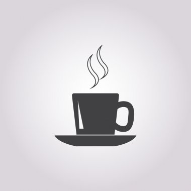 cup and saucer icon on white background