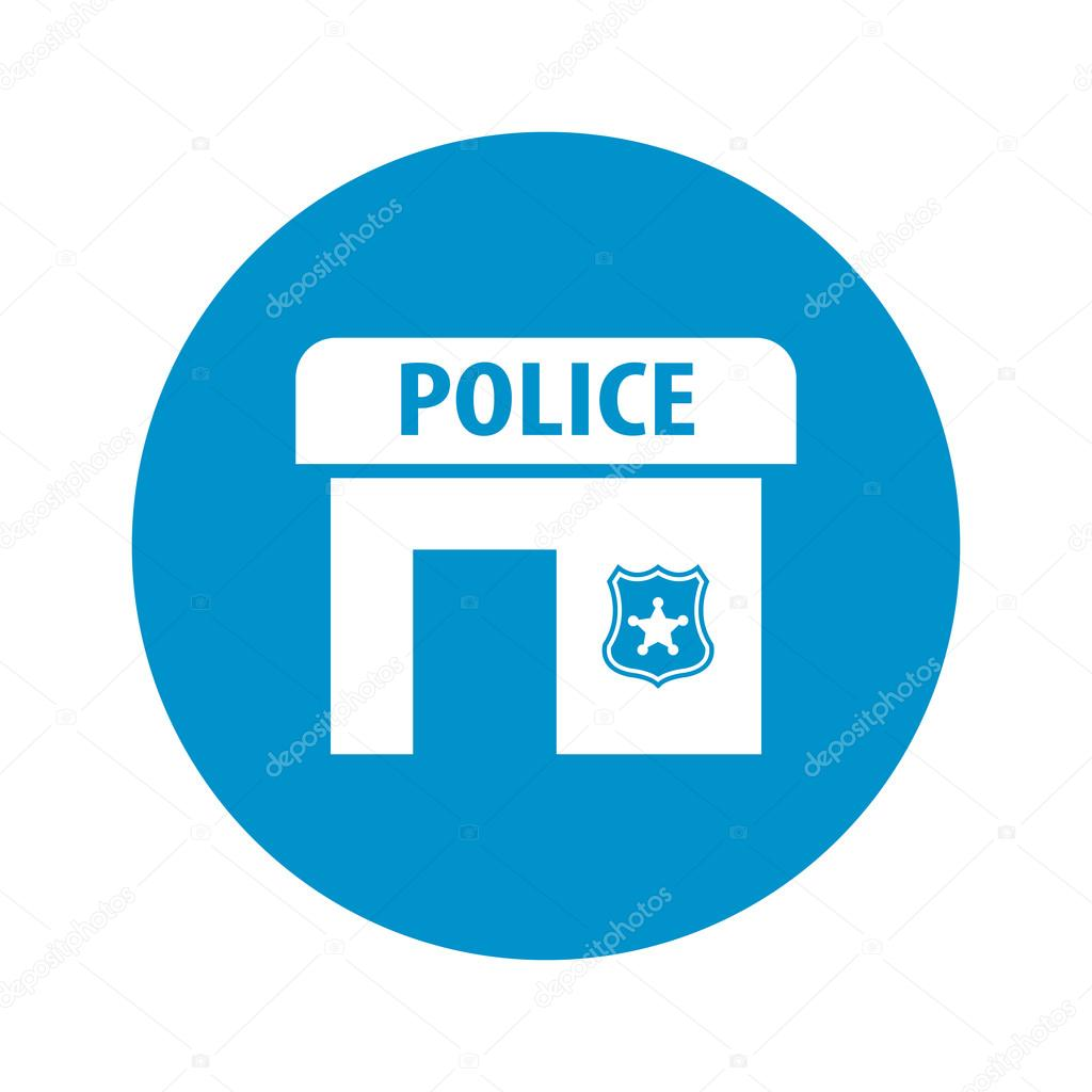 Police Station Icon On White Background Stock Vector Pandavector
