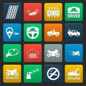 Fotografie Auto, Unfall 16 einfache Symbole für Web festgelegt