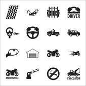 Fotografie Auto, Unfall 16 schwarz einfache Symbole für Web festgelegt