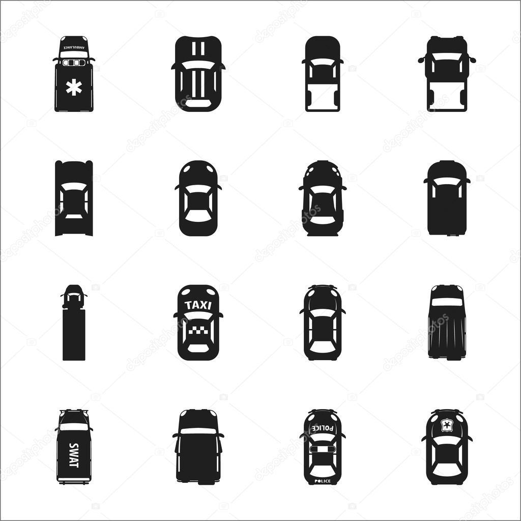 Transport, set Auto 16 schwarz einfache Symbole für web ...