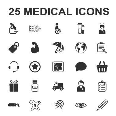 medicine,care,hospital 25 black simple icons set for web