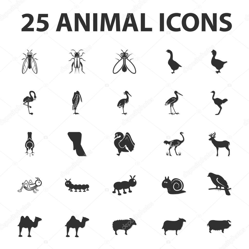 Tier und Tier 25 schwarz einfache Symbole festgelegt für web ...