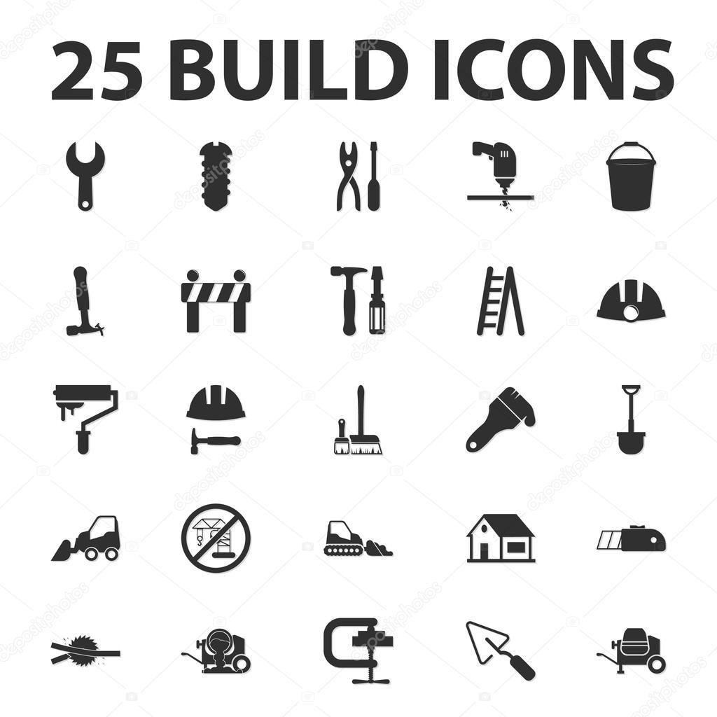 bauen Sie, reparieren Sie 25 schwarz einfache Symbole festgelegt für ...