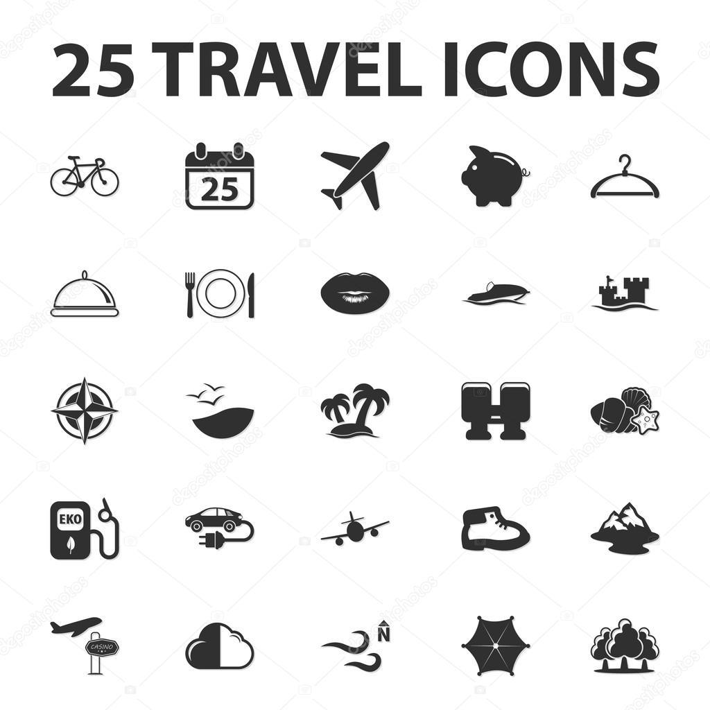 Reise, Urlaub 25 schwarz einfache Symbole-set für web — Stockvektor ...