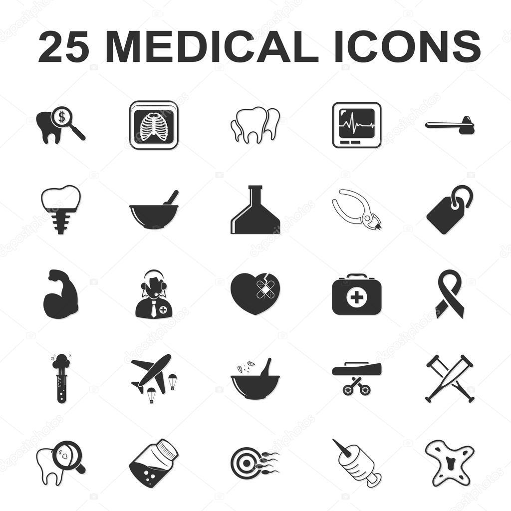Medizin, Pflege, Krankenhaus 25 schwarz einfache Symbole festgelegt ...