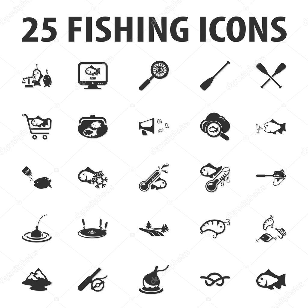 Angeln, Fischen Sie, 25 schwarz einfache Symbole festgelegt für web ...