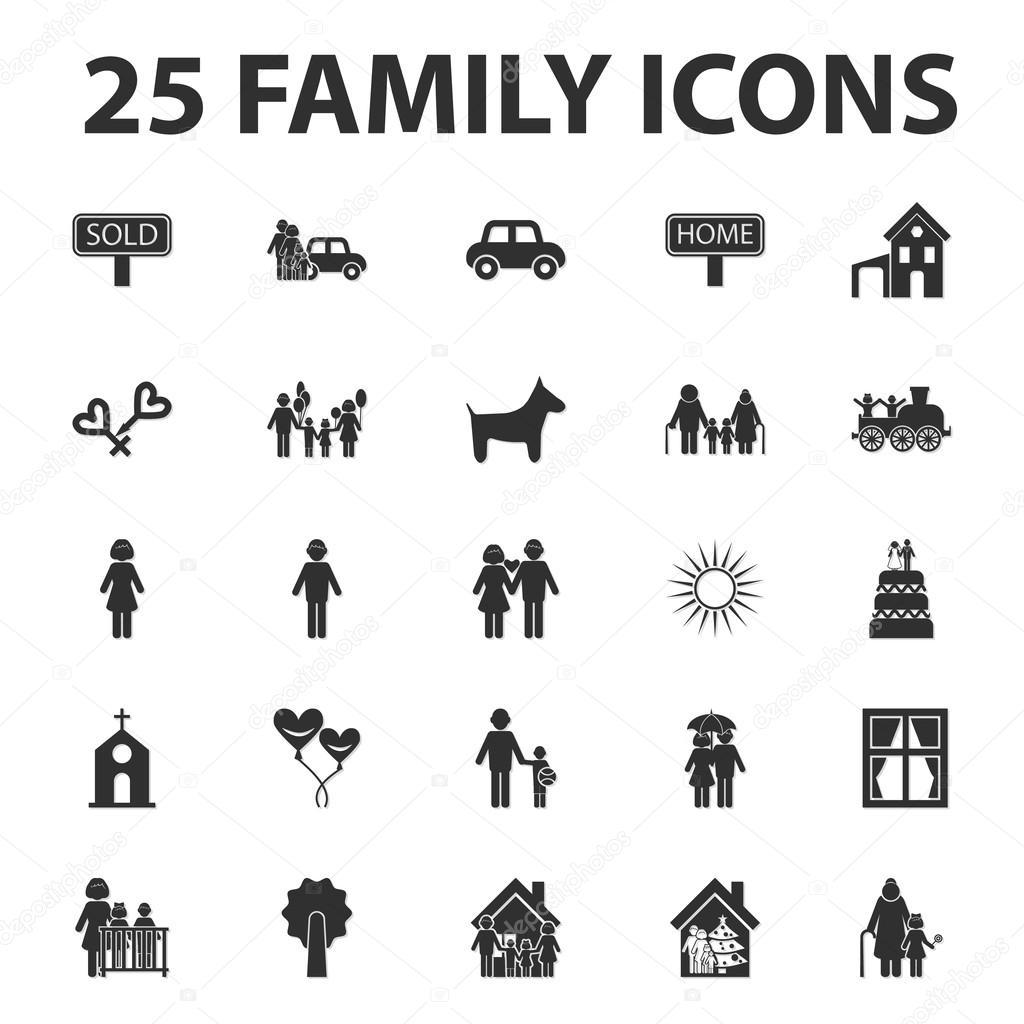 Heim, Familie 25 schwarz einfache Symbole festgelegt für web ...