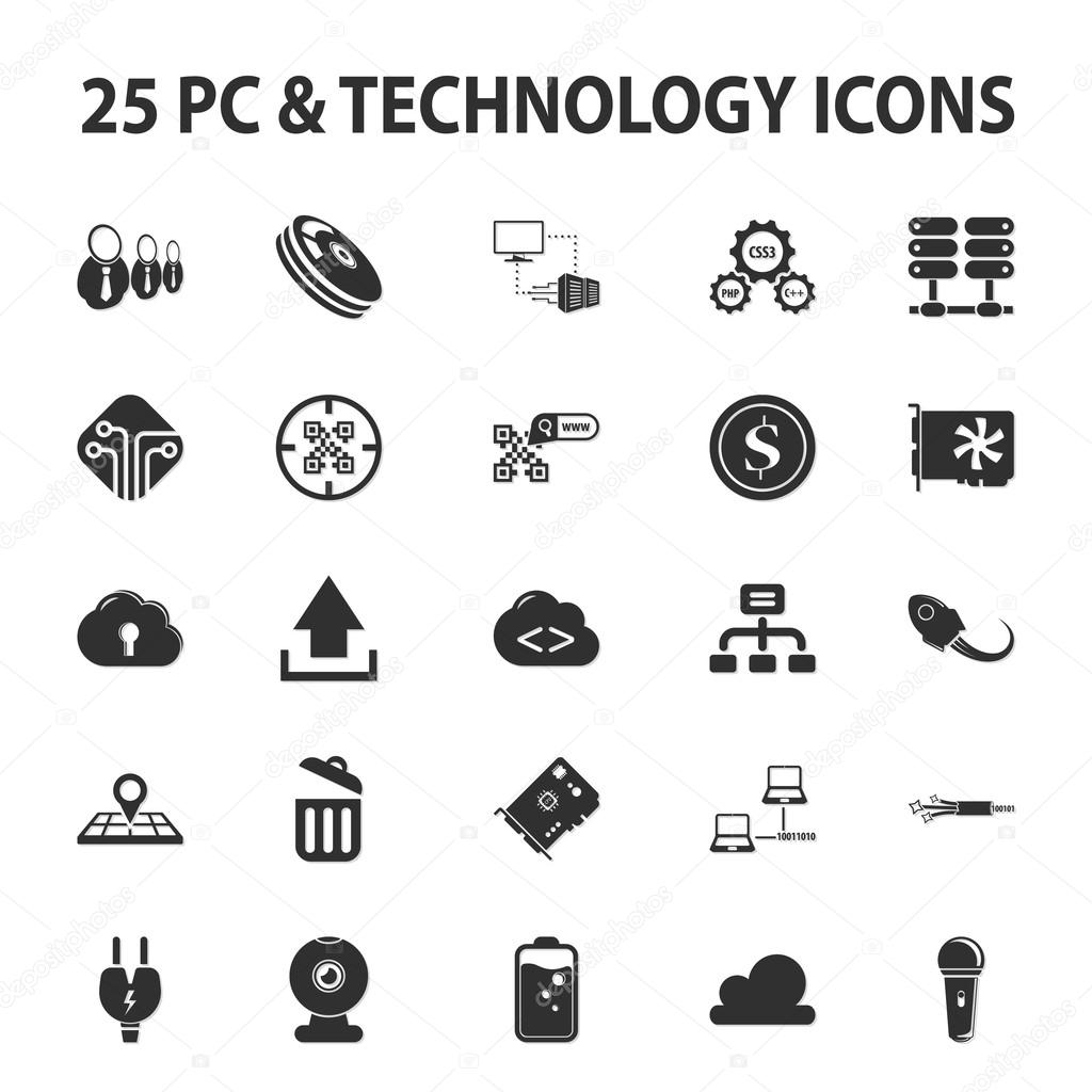 Computer, Technik, pc 25 schwarz einfache Symbole festgelegt für web ...