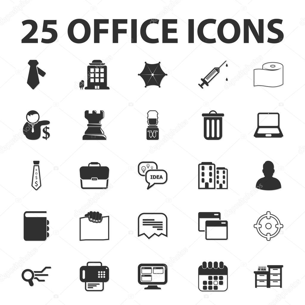 Wirtschaft, Finanzen, Büro 25 schwarz einfache Symbole-Set für web ...