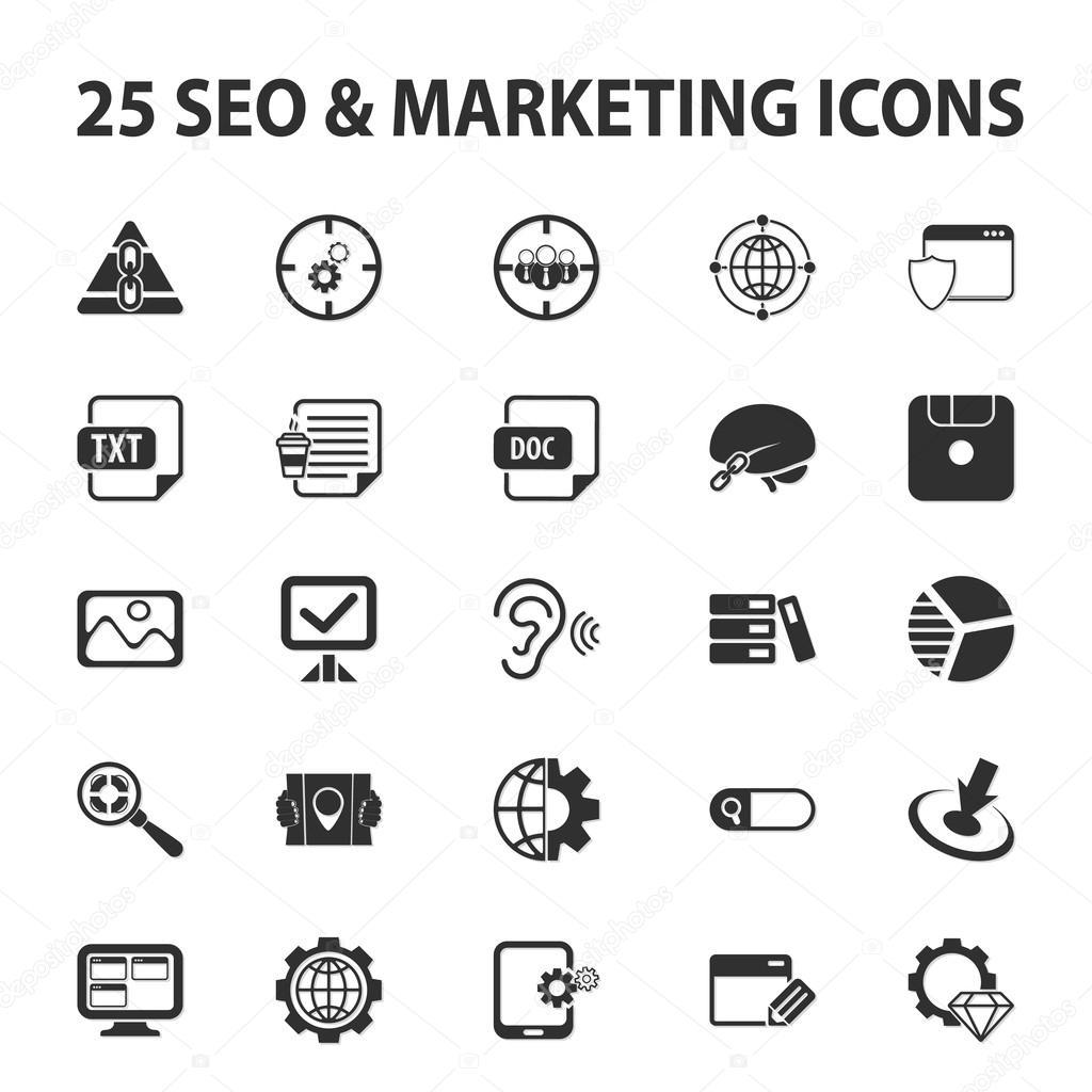 SEO, Werbung, marketing, Vermarkter 25 schwarz einfache Symbole ...