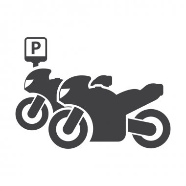 Motorcycle parking black simple icon on white background for web
