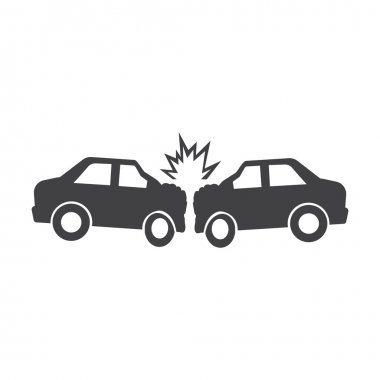 car crash black simple icon on white background for web