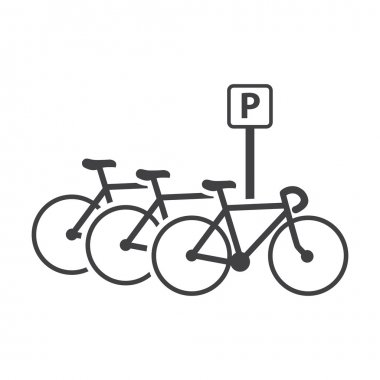 bicycle parking black simple icons set for web