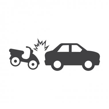 car crash moped black simple icons set for web