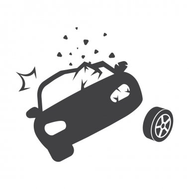 car crash black simple icons set for web