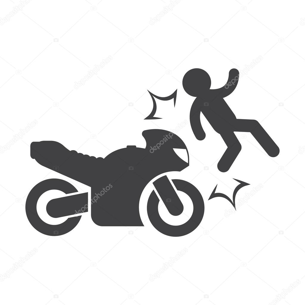 motorcycle accident black simple icon on white background for web ...