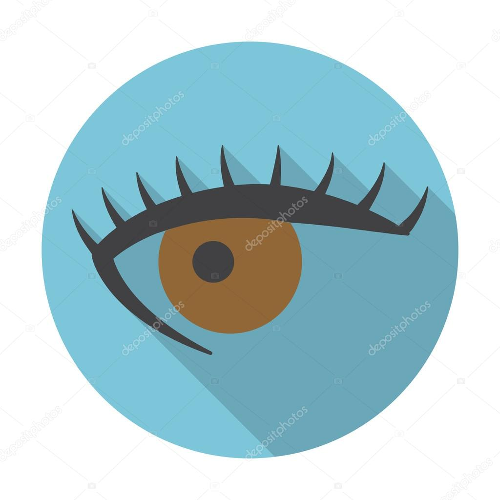 Eyes flat icon with long shadow for web