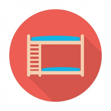 bunk bed flat icon with long shadow for web