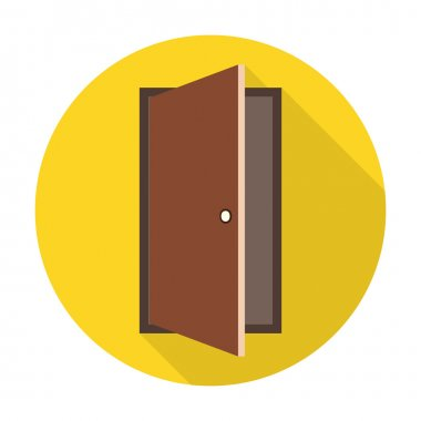 Door flat icon with long shadow for web