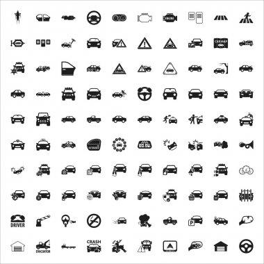 car, repair, mechanic 100 black simple icons set for web
