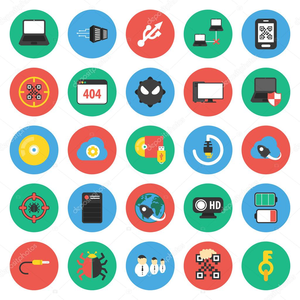 Computer, technology, pc 25 flat icons set for web — Stock Photo