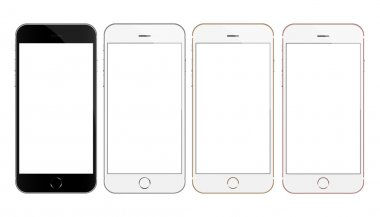 mock up phone 4 color collection set vector design isolated on white