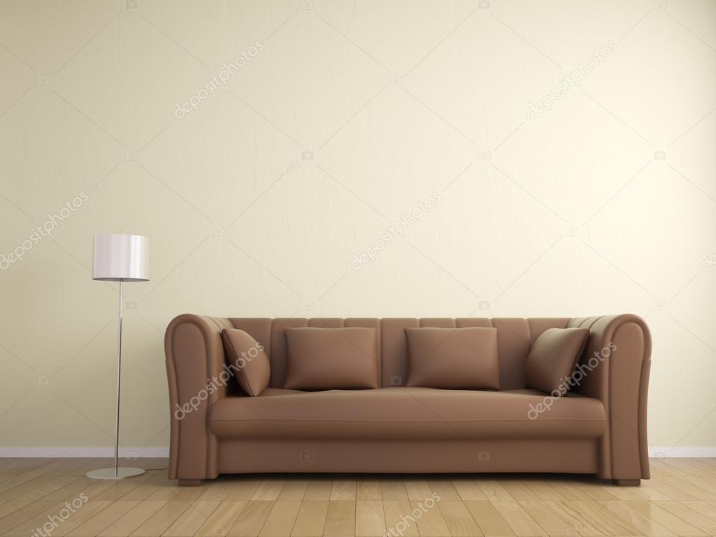 GroBartig Sofa Und Lampe Möbel Wand Beige Farbe, Interieur U2014 Stockfoto