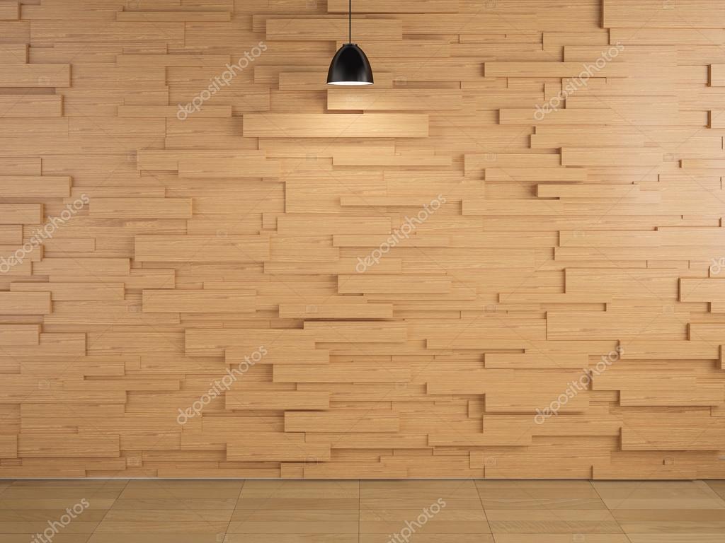 램프 및 나무 벽 디자인 및 바닥 배경, 3d redering — 스톡 사진 ...