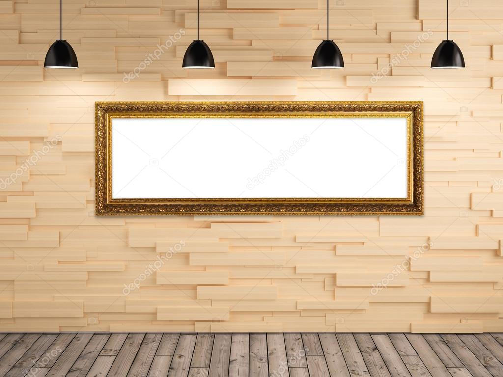 Galerie-Bilderrahmen Ausstellung auf Holz Wand-Hintergrund ...