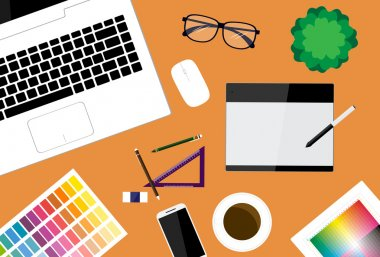creative designer workspace vector background
