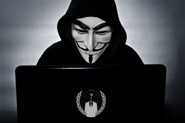 Anonymous member with computer  with the vendetta mask