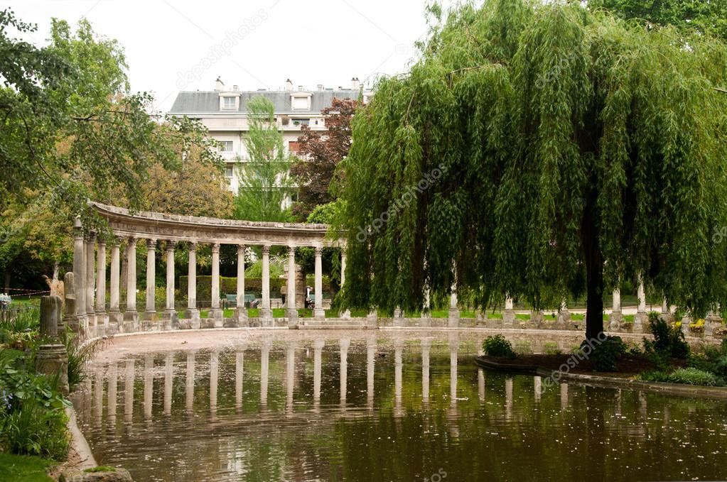 Ancient architecture in Monceau Park  in Paris