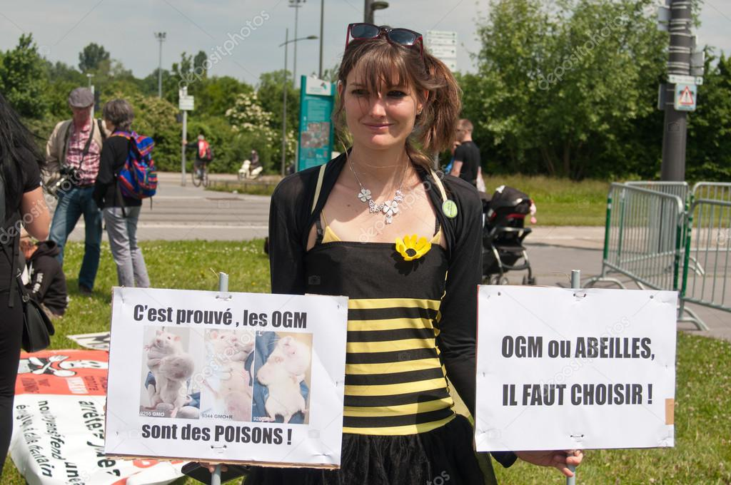 STRASBOURG - France - 23 May 2015 - woman disguised as a bee with banner during the demonstration against Monsanto and the transatlantique treated for the production of GMO in Europe -