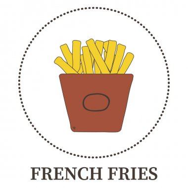 Abstract French fries on white background - Vector illustration icon