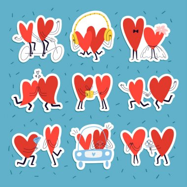 Set of stickers with loving hearts. Collection of cute hand drawn couples in love in doodle style for valentine's day. Vector stock illustration of funny characters. icon
